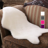 Soft Hairy Carpet Sheepskin Chair Cover Bedroom Faux Rug Pad Skin Fur Plain Fluffy Area Rugs Washable Artificial Textile tapetes