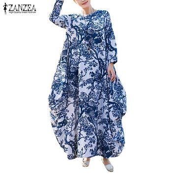 ZANZEA Women Floral Print Long Sleeve Casual Full-Length Kaftan Retro Round Neck Maxi Long Dress Vestido Plus Size