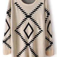 Sheinside Women's Khaki Long Sleeve Geometric Print Pullovers Sweater