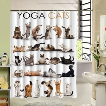 Cute Animal Yoga Cats Shower Curtain High Qulity Polyester Fabric Design Waterproof Eco-friendly With 12 hooks