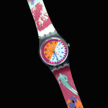 Vintage Swatch Watch, Ski Slope Swatch Watch, 1990's Swatch Watch, Retro Watch, Swatch Watch