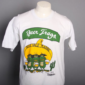80s Drunk BEER FROGS T-SHIRT / Tijuana Mexico Souvenir Tee, m-l