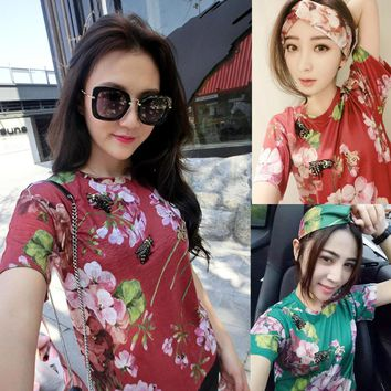 GUCCI Women Fashion Flower Print Tunic Shirt Top Blouse