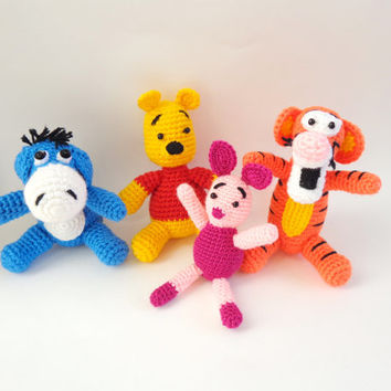 Winnie the Pooh and friends - Winnie, Eeyore, Tigger, Piglet Crochet Toys 4pcs Amigurumi Soft Toy