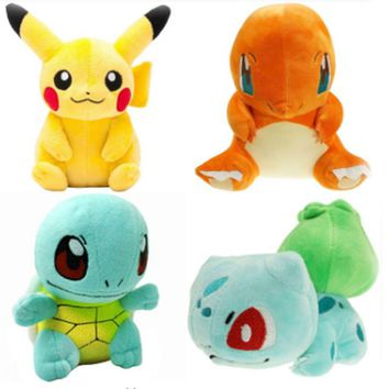 9 Styles Charmander Pikachu Eevee Snorlax Squirtle Mudkip Bulbasaur Plush Toys Cute Stuffed Toy Doll Birthday Christmas