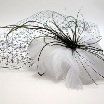 Vintage Inspired White Feather Flower with Birdcage Veil Blusher Fascinator - Winter - steampunk wedding - ghost bride zombie bride