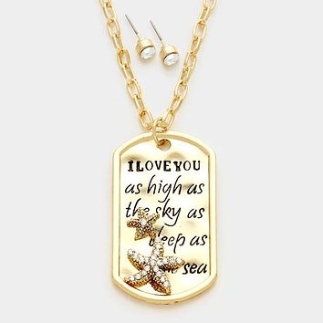 """""""I Love You As High As The Sky.."""" Pave Starfish Pendant Necklace"""