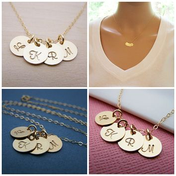 Gold initial necklace - tiny gold initial disc necklace - mothers necklace - grandma necklace - hand stamped initials - gold filled jewelry