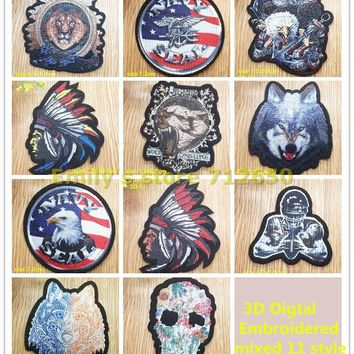 Free Shipping 3D Lion Eagle Fashion Pattern Embroidered patches iron on Motif badge Applique DIY accessory 10 pcs