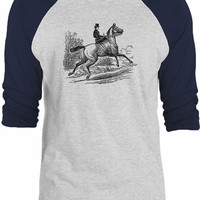 Big Texas Riding a Horse 3/4-Sleeve Raglan Baseball T-Shirt
