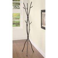 Metal Tree Branch Style Coat Rack with Multiple Hooks in Brown