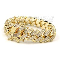 "ICED CUBAN PREMIUM 14K Iced GOLD PLATED SIMULATED DIAMOND 14MM 8.5"" BRACELET"