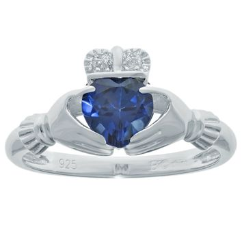 .97 Ct Heart Blue Sapphire and Diamond Accent 925 Sterling Silver Ring