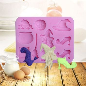 Halloween Party Sugar Silicone Mold Hat Pumpkin Witch Pastry Baking Polymer Clay Kitchen Bakeware Cake Decorating Tools