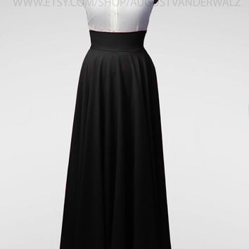 Maxi skirt, long skirt, circle skirt, Skirt with Pocket, Midi Skirt, Black skirt, Floor-length pleated skirt, full length skirt, plus size
