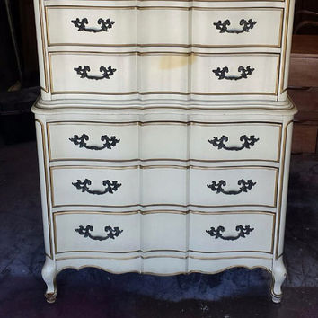 Vintage French provincial chest on chest by Barker Bros