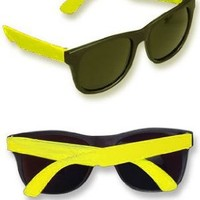 Cheesy Retro 80s Neon Yellow & Black Costume Sunglasses