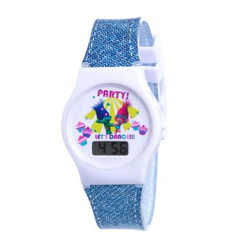 Dreamworks Trolls LCD Denim-Look Silicone Band Watch & Stickers
