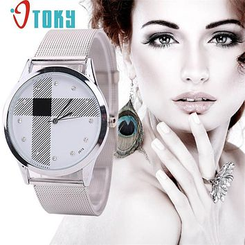 Watches for women Silver Mesh Belt Watch Classic Quartz Stainless Steel Wrist P14 Dropshipping