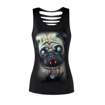 Pug Tank Top Sleeveless Skull Polyester Casual Women