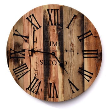 "25inch Rustic Barn Wood Wall Clock with QUOTE ""Time Spent With Friends & Family is Worth Every Second"""