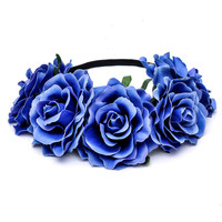 Bride Women Rose Flower Crown Hairband Wedding Flower Headband Garland Festival