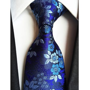 Factory 7 Styles Navy Blue Floral Flowers Jacquard Classic Men Neck Ties 100% Silk Wedding Party Gravatas Groom Necktie tie