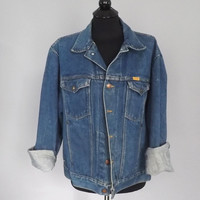 Size Large Vintage 80s 90s Rustler Jean Jacket Womens Denim Coat Cropped Jean Button up Cotton Boho Punk Hipster Country Western Grunge