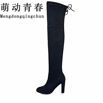 Women Stretch Faux Suede Slim Thigh High Boots  Fashion Over the Knee Boots High Heels Woman Shoes Black Gray Winered