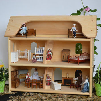 Handcrafted Natural Wooden Toy Dollhouse