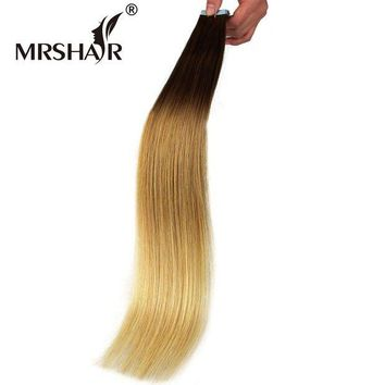 LMF78W MRSHAIR 22' Ombre Tape Extensions 20pcs Brazilian Straight Skin Weft Hair Non Remy Natural Human Hair Tape In T6/12/24#
