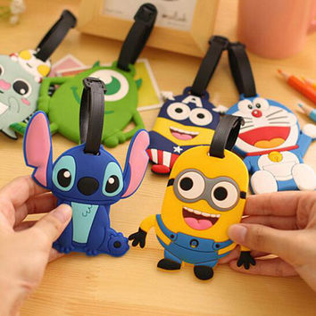 Travel Accessories Luggage Tag Suitcase Cartoon Style Cute Minions Cat Fashion Silicon Portable Travel Label