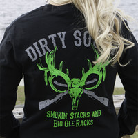 Smokin Stacks Black with Green Long Sleeve