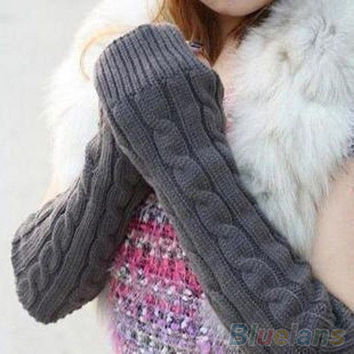 Hot Women's Men's Long Knitted Crochet Fingerless Braided Arm Warmer Gloves 229R