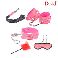 David Pink BDSM Tools Set 5 Pieces Whip Handcuffs Collar Feather Blinder Submissive Slave Kinky Fantasy Fetish Bondage Restraint