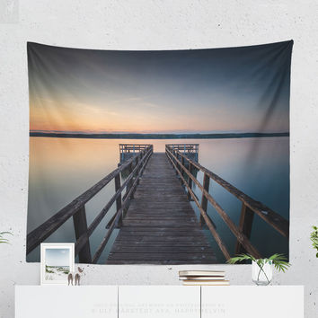 Wall Tapestry With Colorful Ocean Sunset By A Jetty, Sea Tapestry, Nautical, Wall Decor, Dorm Decor, Marine, Coastal, Original Photography