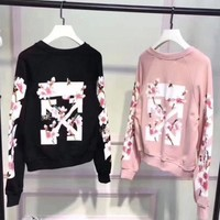 PEAPV9O OFF WHITE Fashion Casual Long Sleeve Sweater Pullover Sweatshirt