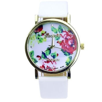 Women Girl Geneva Leather Rose Flower Watch Quartz Watches (Color: White) (With Thanksgiving&Christmas Gift Box)= 1932174212