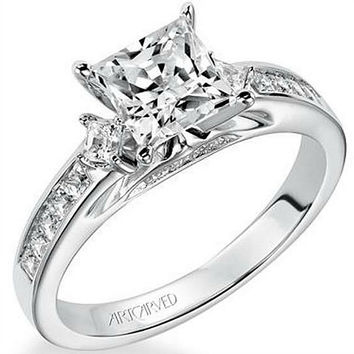 "Artcarved ""Elena"" Three Stone Princess Cut Diamond Engagement Ring"