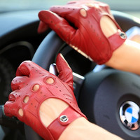 Elma Tradional Women's Italian Nappa Leather Gloves Motorcycle Driving Open Back = 1958113796