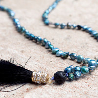 Cornflower blue beaded long necklace Bohemian periwinkle mala necklace Sparkly boho black tassel necklace Japa mala beads Hippie jewellery