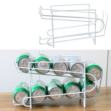 Can Beer Beverage Soda Dispenser Rack Holder Organize Storage Refrigerator Drink