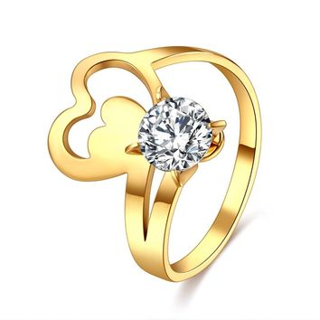 CACANA 316L Stainless Steel Jewelry Unique Crystal Heart Rings For Women Surgical Steel Nickle Free CZ Crystalrings