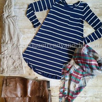 NAVY OR NOTHING STRIPED DRESS