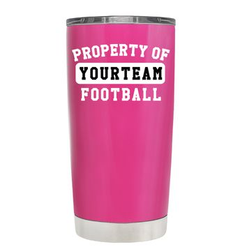 TREK Property of Football Personalized on Bright Pink 20 oz Tumbler Cup