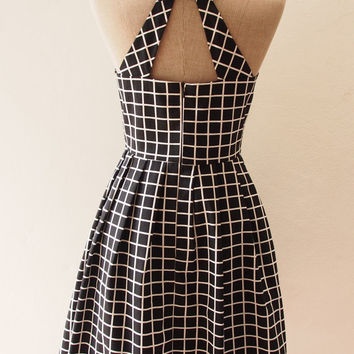 LOVE POTION - Black Window Pane Plaid Dress, Little Black Dress, Street Modern Vintage Modern Dress, Black Cut Off Back Dress, xs-xl,custom