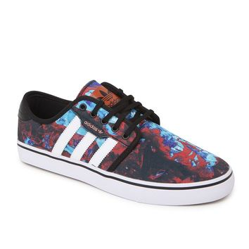 Adidas Seeley Printed Canvas Shoes - Mens Shoes - Lt Blue/Red