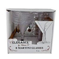 Hanna K. Signature Collection 8 Count Plastic Martini Glass, 6-Ounce, Clear