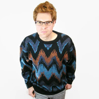 Zig Zag Hipster Sweater. New Wave Acrylic Geometric 80s Sweater. Oversize Black with Electric Blue & Copper Stripes. Old School 80s Clothing