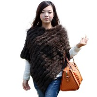 Women Fashion Solid Pullover Knitted Genuine Rabbit Fur Poncho Cape Ladies Real Fur Knit Amic Wraps Triangle Shawls Outwear Coat
